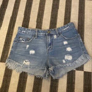 Free People Blue Jean Shorts